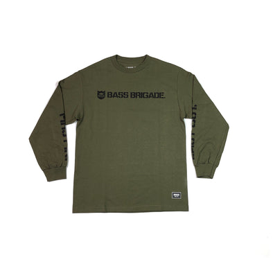 SHIELD WORDMARK TEE LONG SLEEVE - BLACK / OLIVE