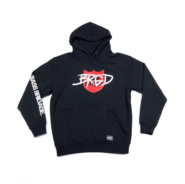 TAGGED SHIELD LOGO PULLOVER HOODIE - BLACK