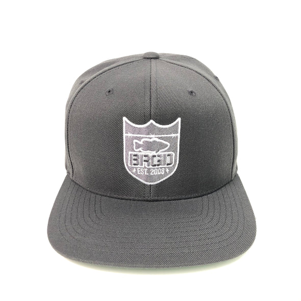 Bass Brigade Outline Shield Logo Snapback Hat - Charcoal Grey