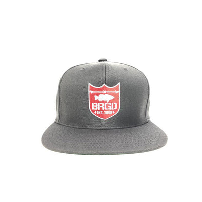 Bass Brigade Shield Logo Snapback Hat - Dark Grey/Red