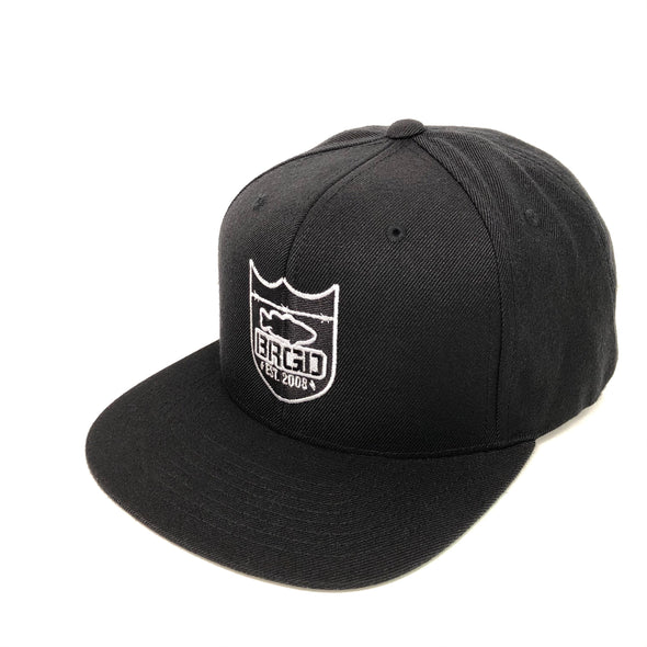 Bass Brigade Outline Shield Logo Snapback Hat - Black