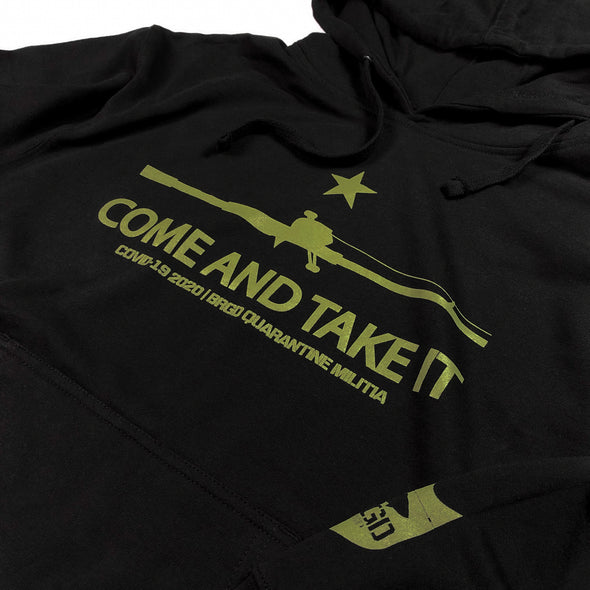 COME AND TAKE IT PULLOVER HOODIE - BLACK/ OD GREEN