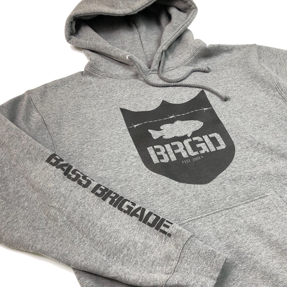 SHIELD LOGO PULLOVER HOODIE - GUN METAL HEATHER / BLACK