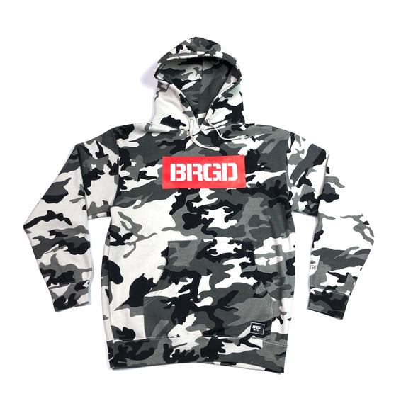 BOXED BRGD PULLOVER HOODIE - SNOW CAMO / RED