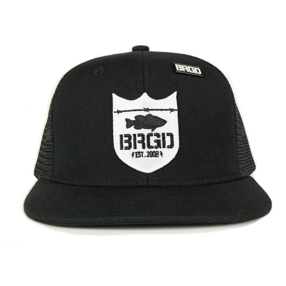 Custom Shield Patch Trucker Hat - Black