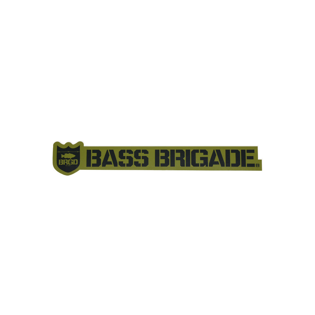 Bass Brigade Shield and Wordmark Die-Cut Sticker - Olive/Black