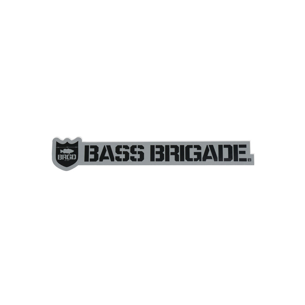 Bass Brigade Shield and Wordmark Die-Cut Sticker - Grey/Black