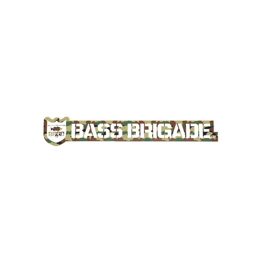 Bass Brigade Shield and Wordmark Die-Cut Sticker - Woodland Camo