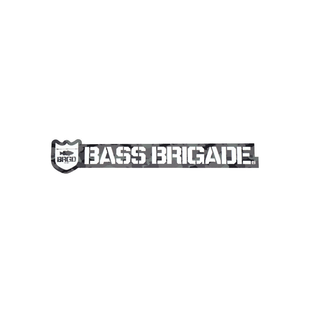 Bass Brigade Shield and Wordmark Die-Cut Sticker - Carbon Camo