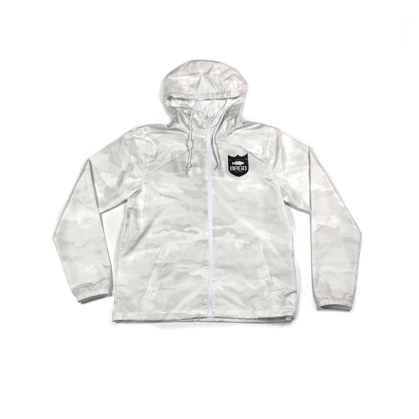 BRGD FRAME PULL ZIP HOODED WINDBREAKER - WHITE CAMO