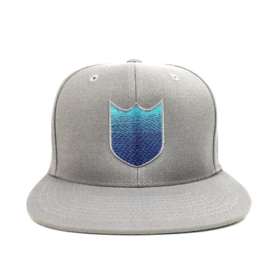 BLANK SHIELD GRADIENT SNAPBACK HAT - SILVER