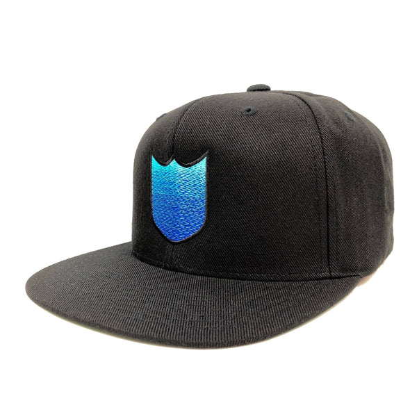 BLANK SHIELD GRADIENT SNAPBACK HAT - BLACK