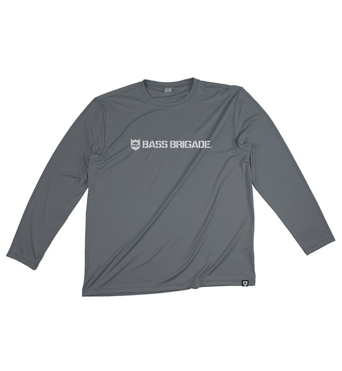 SHIELD AND WORDMARK Performance Tee L/S - Iron Grey/White