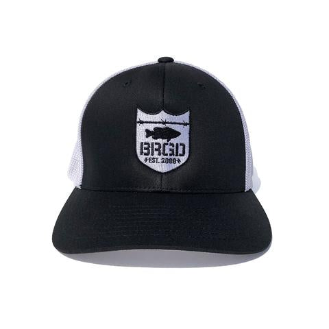 SHIELD LOGO FLEXFIT TRUCKER HAT - BLACK/WHITE MESH