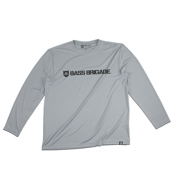 SHIELD AND WORDMARK Performance Tee L/S - Silver/Charcoal