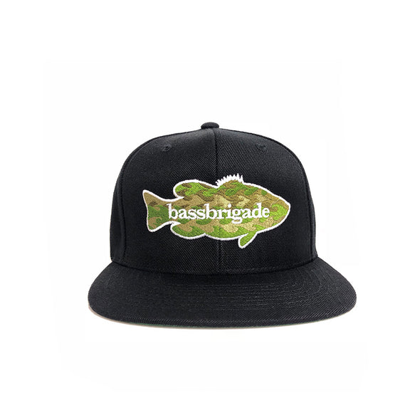 WAVY CAMO BASS SNAPBACK HAT - BLACK