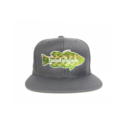 WAVY CAMO BASS SNAPBACK HAT - DARK GREY