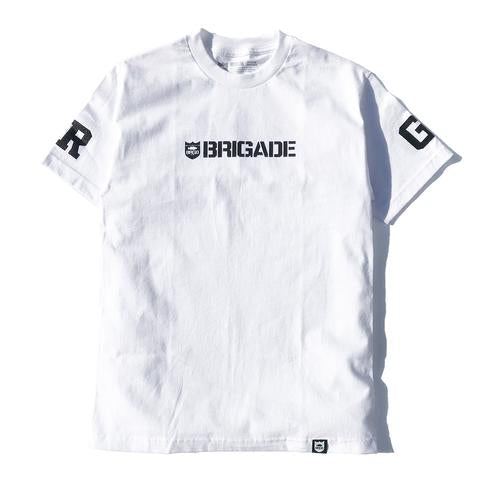 BRIGADE WORDMARK TEE - WHITE/BLACK