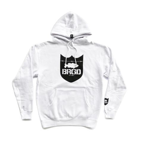SHIELD LOGO PULLOVER HOODIE - WHITE