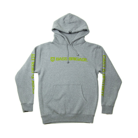 Bass Brigade Shield and Wordmark Pullover Hoodie V2 - Grey