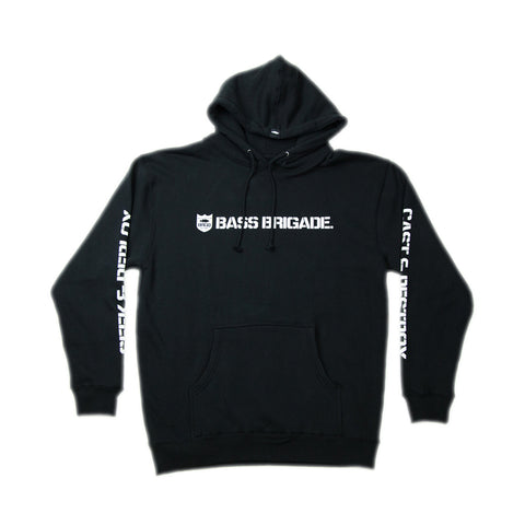 Bass Brigade Shield and Wordmark Pullover Hoodie V2- Black
