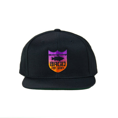 Shield Logo Gradient Sunset Snapback - Black/Sunset