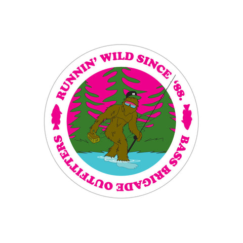 Bass Brigade Bassquatch Sticker - Hot Pink