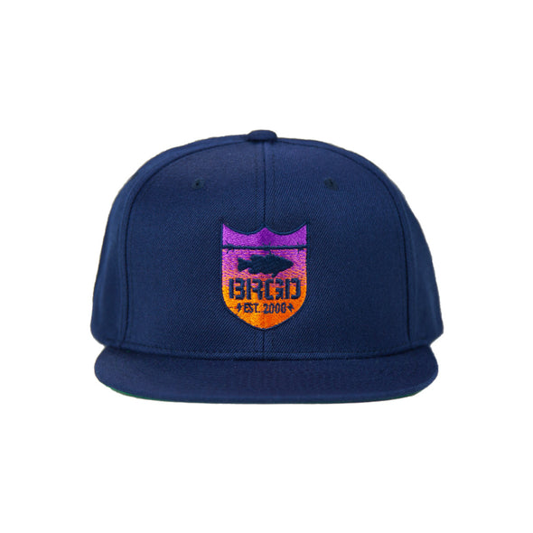 Shield Logo Gradient Sunset Snapback - Navy/Sunset