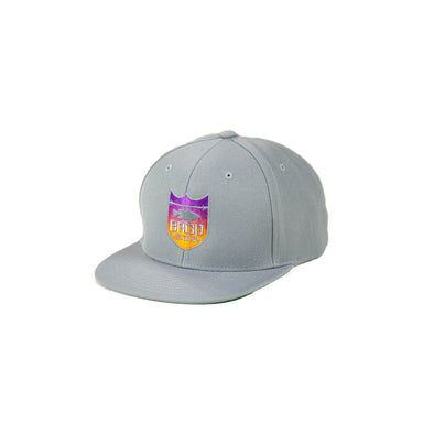 Shield Logo Gradient Sunset Snapback - Silver/Sunset