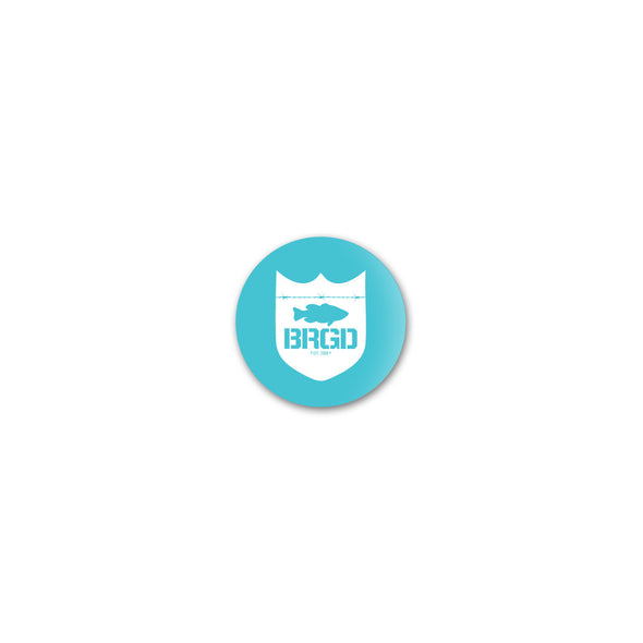 Bass Brigade Shield Logo - Turquoise/White Button
