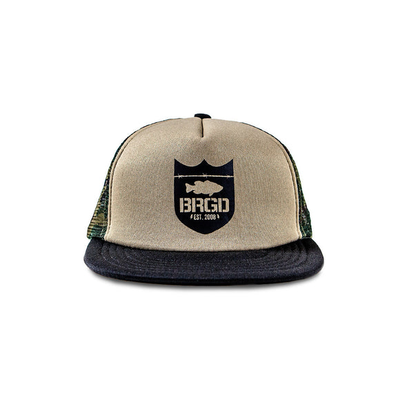 Bass Brigade Shield Logo Foam Trucker Hat - Camo/Black