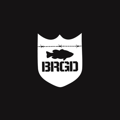 Bass Brigade Shield Logo Large Decal White