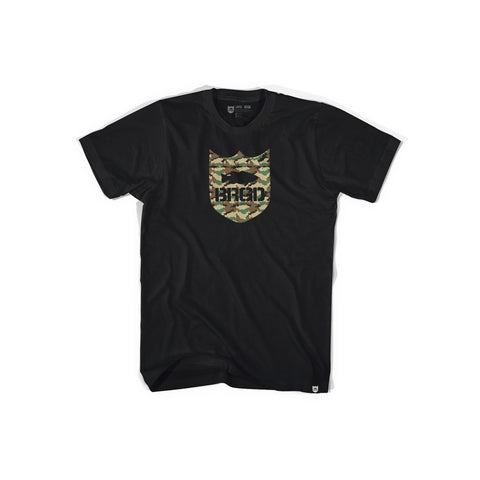 Shield Logo Lunker Camo Tee - Black