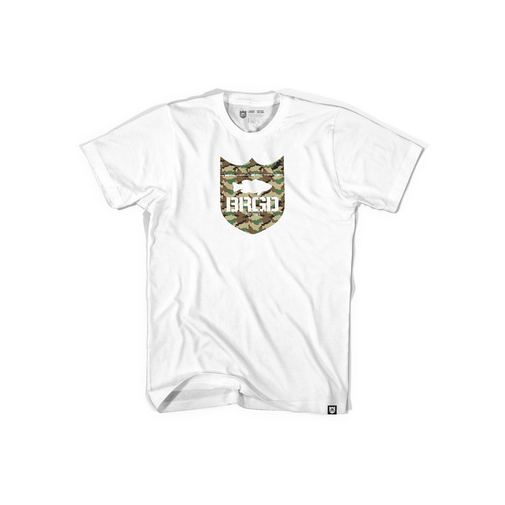 Shield Logo Lunker Camo Tee - White