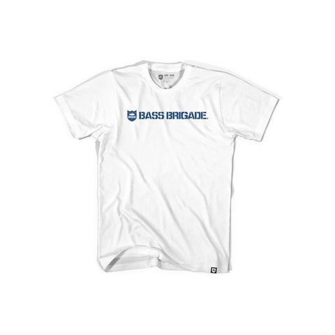 Bass Brigade Shield and Wordmark Tee - White/Navy