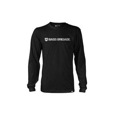 Bass Brigade Shield and Wordmark LS Tee - Black/White