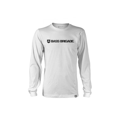 Bass Brigade Shield and Wordmark LS Tee - White/Black