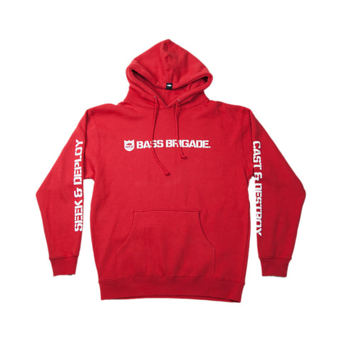 Bass Brigade Shield and Wordmark Pullover Hoodie V2 - Red
