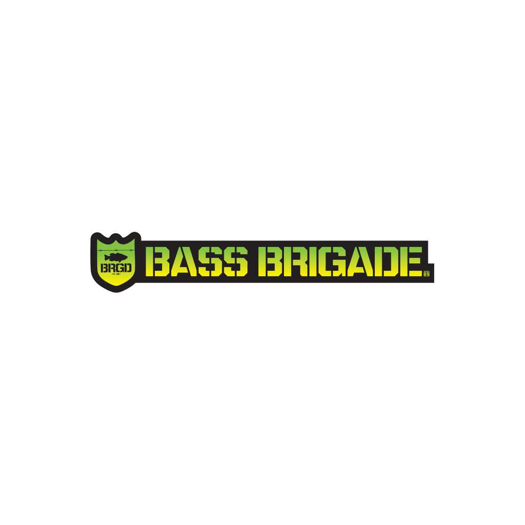 Bass Brigade Shield and Wordmark Die-Cut Sticker Gradient Limon