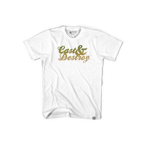 Bass Brigade Cast And Destroy Script Tee - White