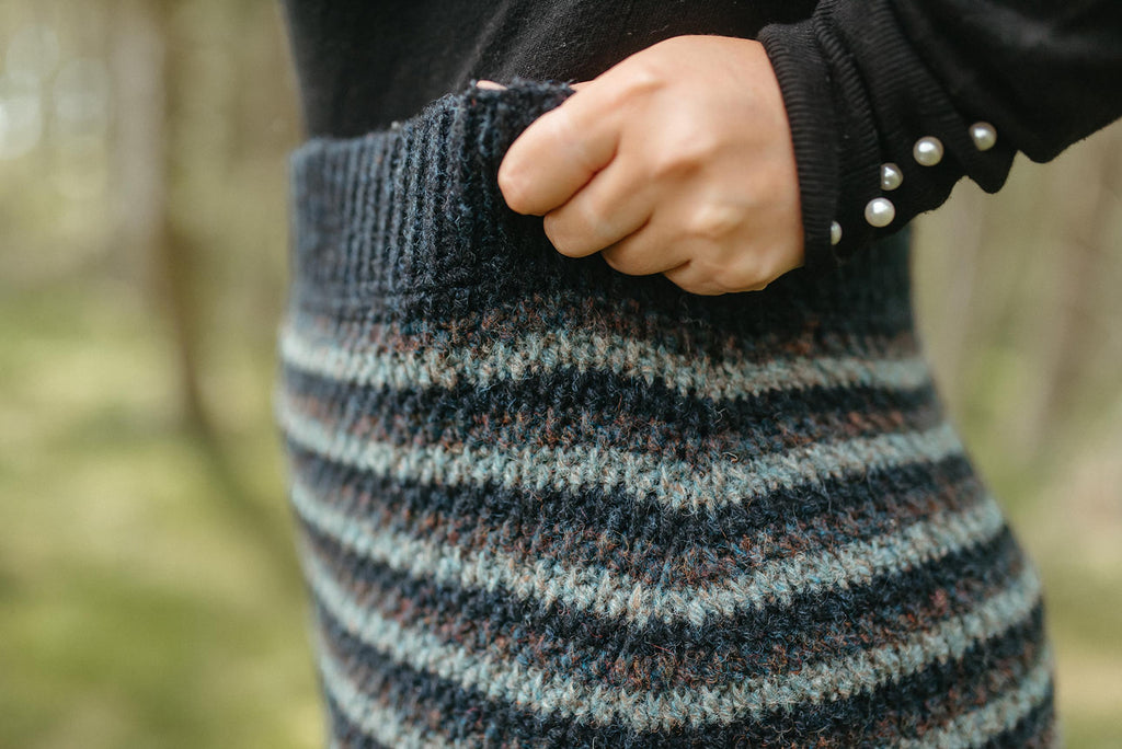 Close-up of skirt showing the textural Alpine stitch