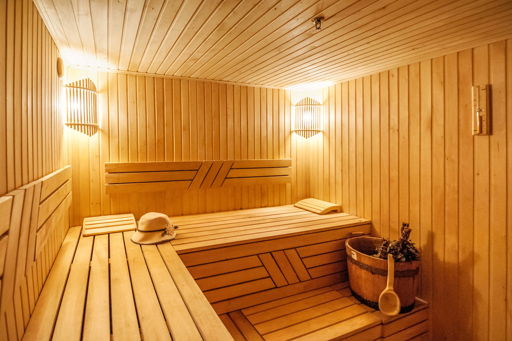 wooden sauna benches treated with paraffin oil