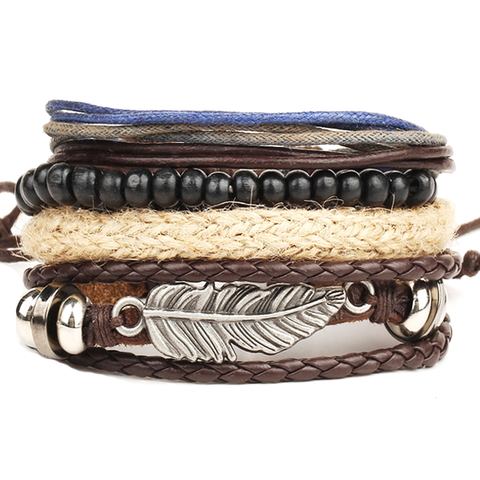 4 pcs Multi-Layer Beads Leather Bracelet