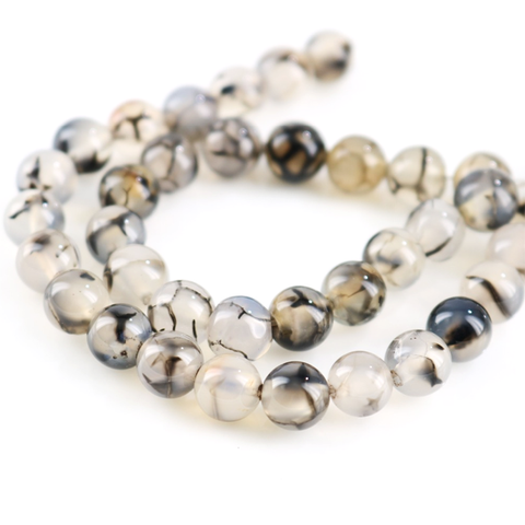 Black White Texture Onyx Chalcedony Beads Bracelet/Necklace