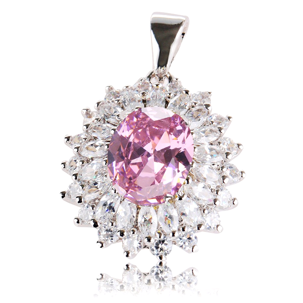 Cubic Zirconia Silver Plated Pendant Without Chain