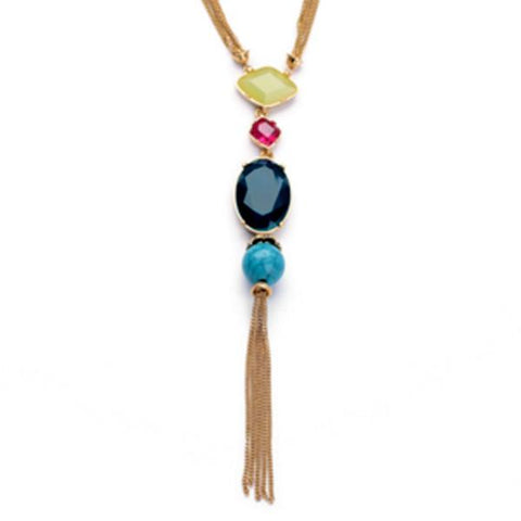 Long Multi-Colored Gem Stone Tassel Necklace - Florence Scovel - 1