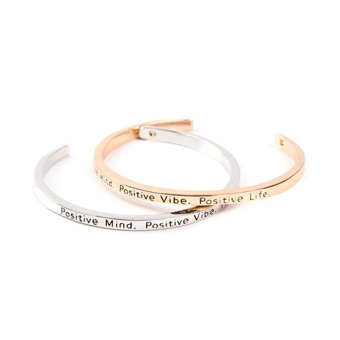 Positive Mind Positive Vibe Positive Life Cuff Bangle - Florence Scovel - 1