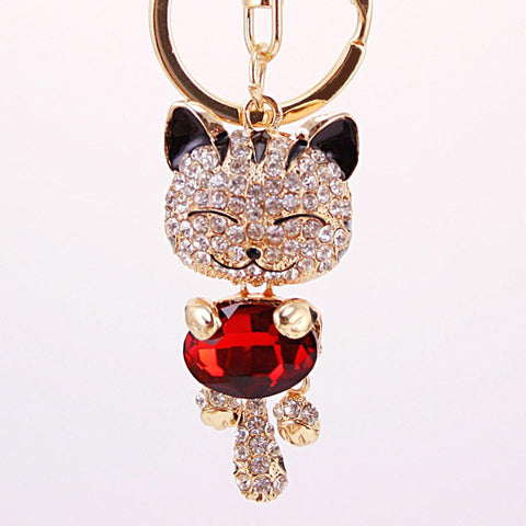Rhinestone Cat Keychain in 18K Gold Plating - Florence Scovel - 1