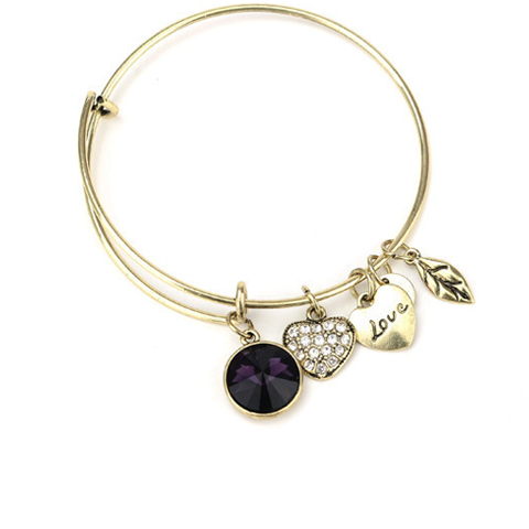 February Birthstone Charm Bangle - Florence Scovel - 1