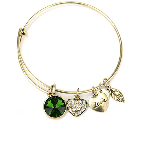 May Birthstone Charm Bangle - Florence Scovel - 1